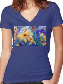 Vibrant Gum Blossoms Women's Fitted V-Neck T-Shirt