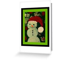 Shy Snowman with a Carrot Nose Greeting Card