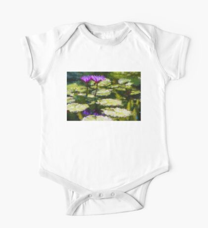 Waterlilies Impressions – Purple Duo Shimmer One Piece - Short Sleeve