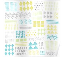 Abstract Watercolor Shapes Pattern Poster