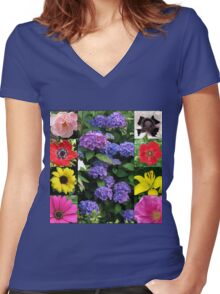 Summer Blossoms Collage Women's Fitted V-Neck T-Shirt