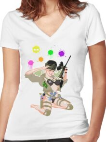 Paintball PinUp Women's Fitted V-Neck T-Shirt