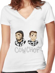 Cow Chop Women's Fitted V-Neck T-Shirt
