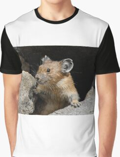 Pika Looking out from its Burrow Graphic T-Shirt