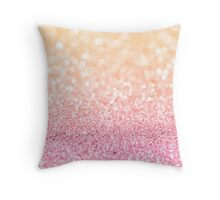 Pink and Orange Glitter Throw Pillow