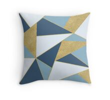 Abstract Gold and Blue Throw Pillow
