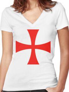Templar cross Women's Fitted V-Neck T-Shirt