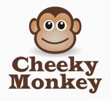 Cheeky Monkey - Funny Toon Face Sticker Kids Tee