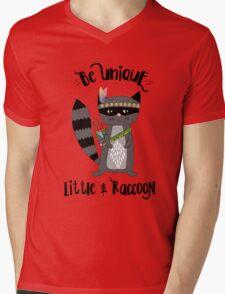 Woodland Raccoon Mens V-Neck T-Shirt