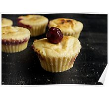 Cupcakes with cherries. Poster