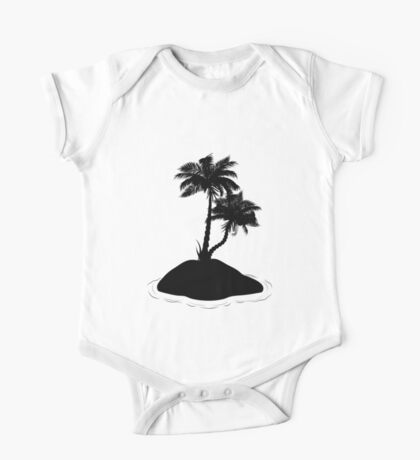 Palm Tree on Island Silhouette One Piece - Short Sleeve