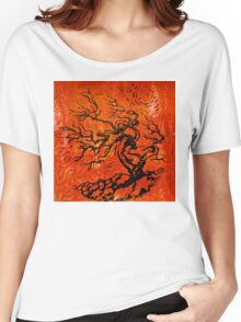 Old and Ancient Tree - Orange Red  Women's Relaxed Fit T-Shirt