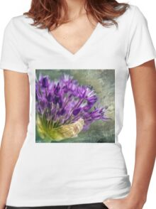 Allium Blossoms Women's Fitted V-Neck T-Shirt
