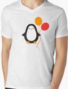 Penguin with balloons Mens V-Neck T-Shirt