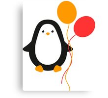 Penguin with balloons Canvas Print