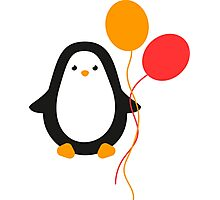 Penguin with balloons Photographic Print