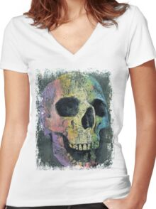 Happy Skull Women's Fitted V-Neck T-Shirt