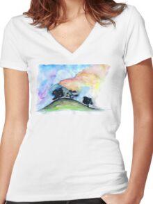 Landscape #1 Women's Fitted V-Neck T-Shirt