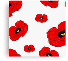 Poppy White Canvas Print