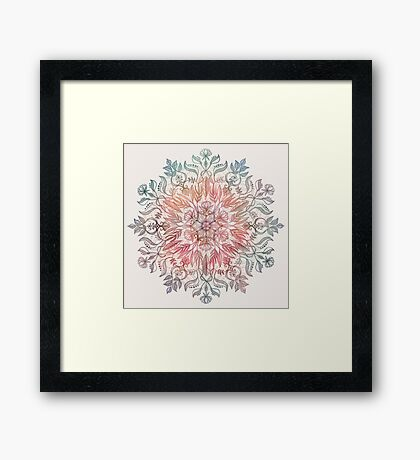 Autumn Spice Mandala in Coral, Cream and Rose Framed Print