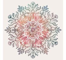 Autumn Spice Mandala in Coral, Cream and Rose Photographic Print