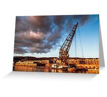 An old crane in the port of Trieste Greeting Card