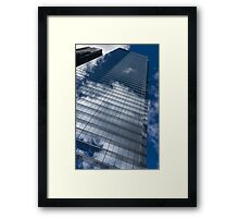 Reflected Sky - Skyscraper Geometry With Clouds - Right Framed Print