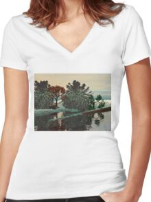 ALIEN LANDSCAPE /LAGOON IN HYPERION Sci_Fi Women's Fitted V-Neck T-Shirt