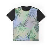 Pale Leaf Abstract Blue Graphic T-Shirt