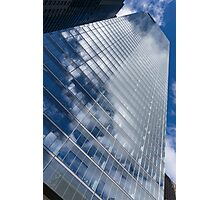 Glossy Glass Reflections - Skyscraper Geometry With Clouds - Right Photographic Print