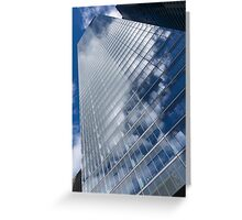 Glossy Glass Reflections - Skyscraper Geometry With Clouds - Left Greeting Card