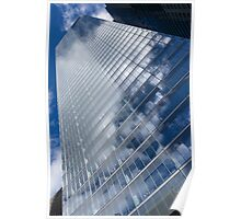 Glossy Glass Reflections - Skyscraper Geometry With Clouds - Left Poster