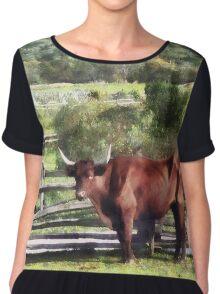 Bull in Pasture Chiffon Top