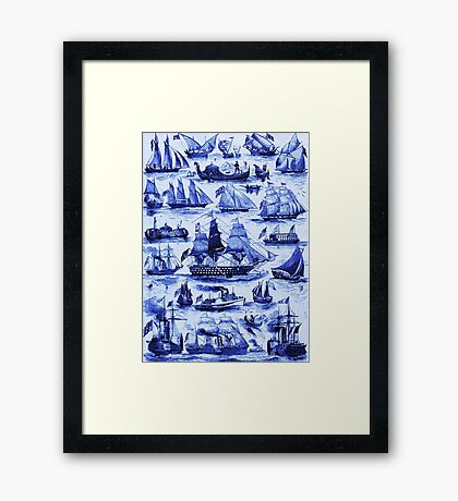 VINTAGE SAILING VESSELS AND SHIPS,Navy Blue Nautical Collection Framed Print