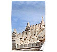Ornate temple sculptures in Bagan, Myanmar Poster