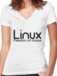Linux - Freedom Of Choice Women's Fitted V-Neck T-Shirt