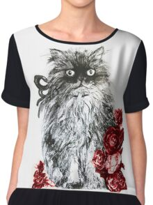 KITTEN WITH RED ROSES ,Black and White Chiffon Top