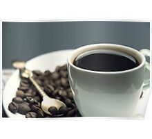 white Cup of black coffee  Poster