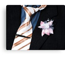 wedding groom suit and tie and a flower closeup Canvas Print