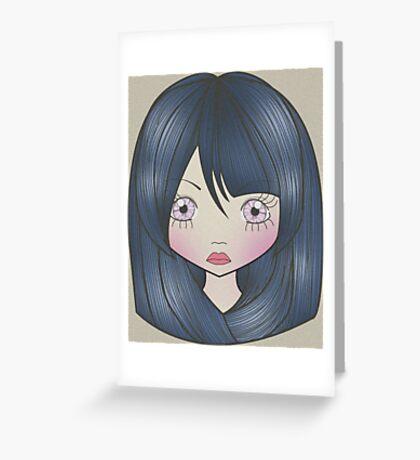 Dollhouse Girl Blue Greeting Card