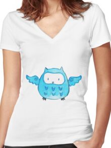 Blue Watercolor Owl Women's Fitted V-Neck T-Shirt