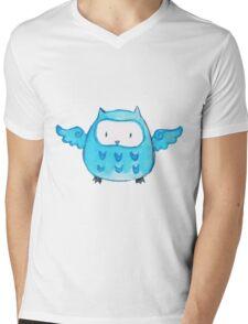 Blue Watercolor Owl Mens V-Neck T-Shirt