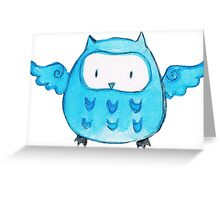 Blue Watercolor Owl Greeting Card