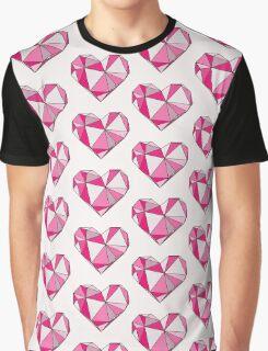 Geo Heart Pink Graphic T-Shirt