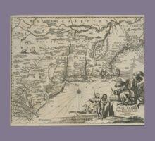 1600s Dutch Map of North America Kids Tee