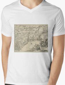 1600s Dutch Map of North America Mens V-Neck T-Shirt