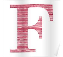 Letter F Red Watercolor Stripes Initial Monogram Poster