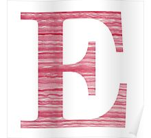 Letter E Red Watercolor Stripes Initial Monogram  Poster