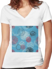 circles abstract seamless pattern Women's Fitted V-Neck T-Shirt