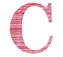 Letter C Red Watercolor Stripes Initial Monogram Photographic Print